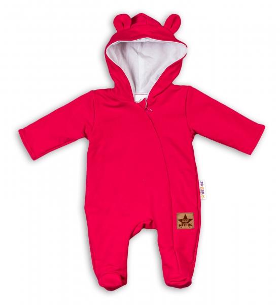 Baby Nellys Kojenecký teplákový overal s kapucí Teddy - malinový, vel. 68, Velikost: 68 (3-6m)