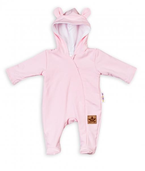 Baby Nellys Kojenecký teplákový overal s kapucí Teddy - sv. růžový, vel. 68, Velikost: 68 (3-6m)