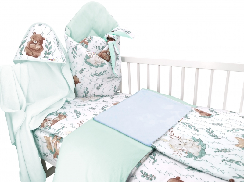 Baby Nellys 6-dílná sada do kolébky LULU natural, mátová