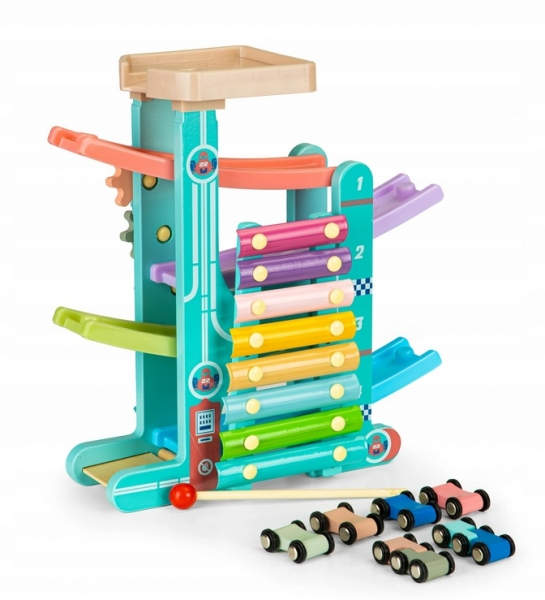 Eco Toys Dřevěná edukační skluzavka s xylofonem