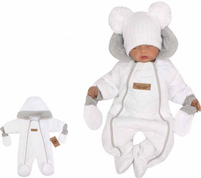 Z&Z Zimní prošívaná kombinéza s kožešinou a kapucí + rukavičky - bílá