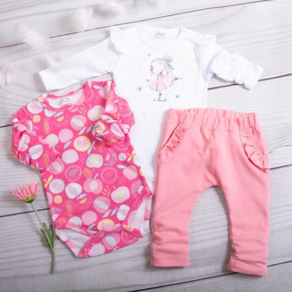 K-Baby 3-dílná sada, 2x body dl. rukáv, legíny - Víla růžová, bílá, Velikost: 62 (2-3m)