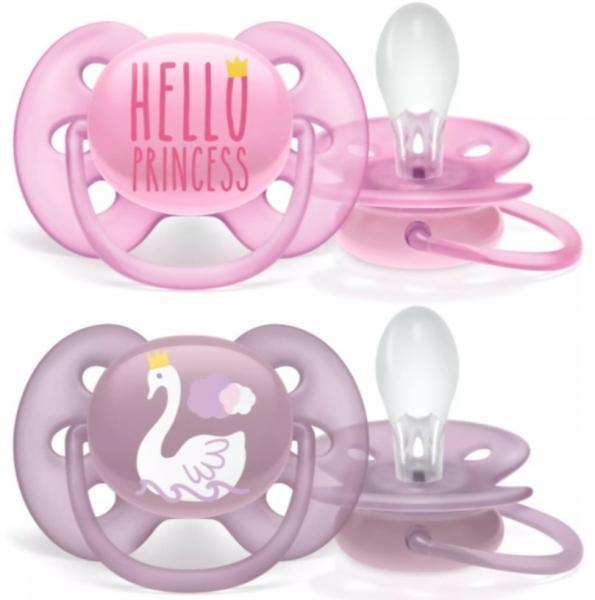 AVENT Dudlíky  6-18 m Ultra Soft Hello, Girl - růžová/lila