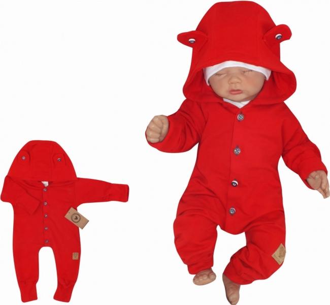 Z&Z Dětský teplákový overálek s knoflíčky a kapucí, červený