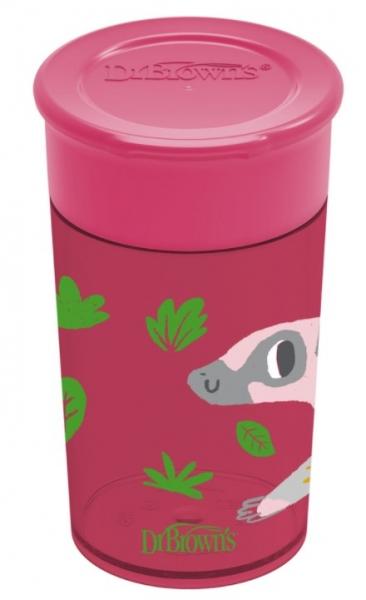 Dr.Browns Kouzelný hrneček Cheers 360°,  9 m+, tm.růžový