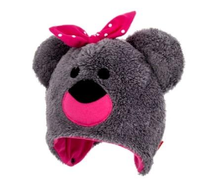 Bexa Zimní čepice na zavazování s oušky, Teddy - šedá/růžová, vel. 92/98