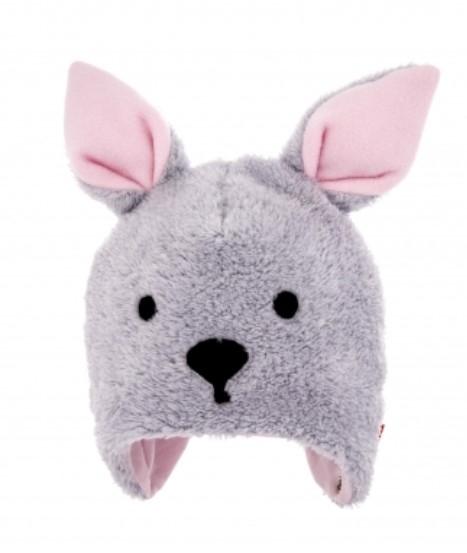 Bexa Zimní čepice na zavazování s oušky, Bunny - šedá/růžová, vel. 62/68