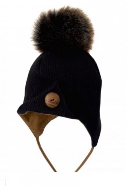 Bexa Zimní čepice na zavazování s bambulí + šátek - černá/hnědá, vel. 62/68