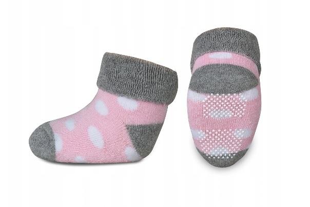 Kojenecké froté ponožky, Risocks protiskluzové, puntíky - šedá/růžová/bílá