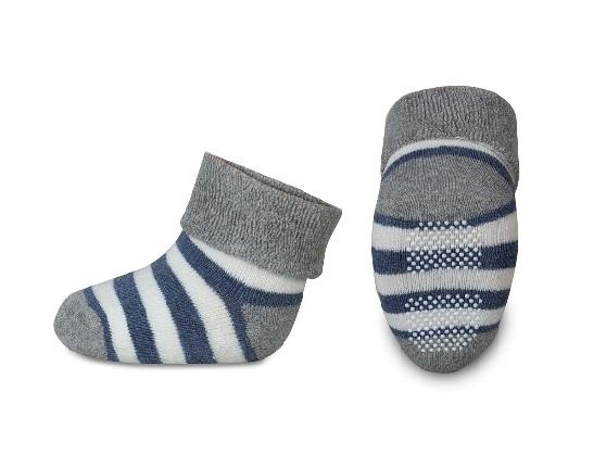 Kojenecké froté ponožky, Risocks protiskluzové, pruhy - šedá/granát/bílá