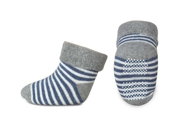 Kojenecké froté ponožky, Risocks protiskluzové, proužky - šedá/granát/bílá