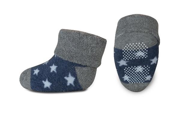 Kojenecké froté ponožky, Risocks protiskluzové, hvězdičky - šedá/granát/bílá