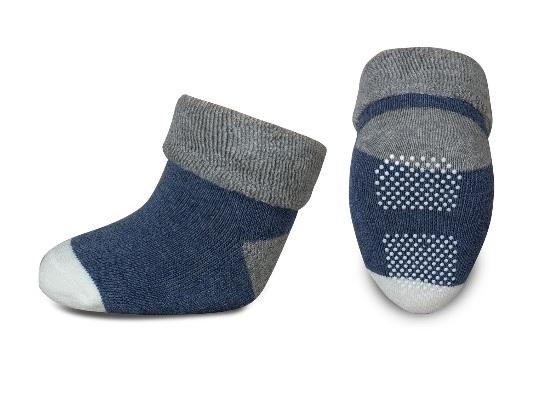 Kojenecké froté ponožky, Risocks protiskluzové - šedá/granát/bílá