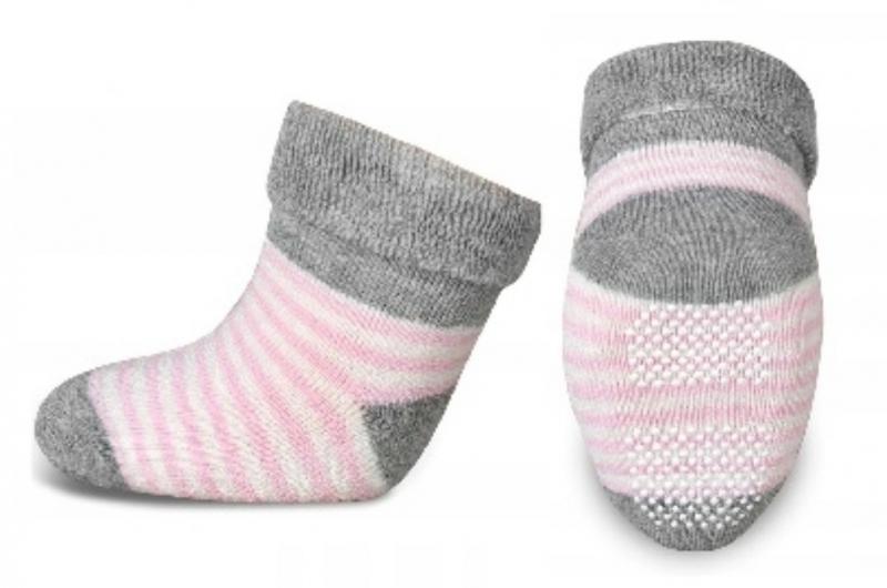 Kojenecké froté ponožky, Risocks protiskluzové, proužky - šedá/růžová/bílá