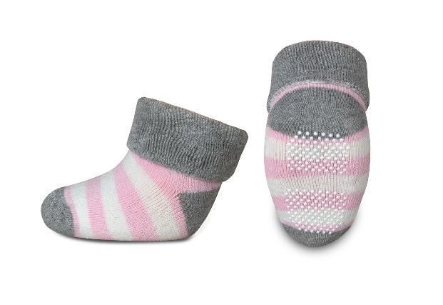 Kojenecké froté ponožky, Risocks protiskluzové, pruhy - šedá/růžová/bílá