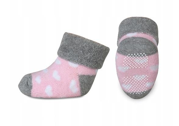 Kojenecké froté ponožky, Risocks protiskluzové, srdíčka - šedá/růžová/bílá
