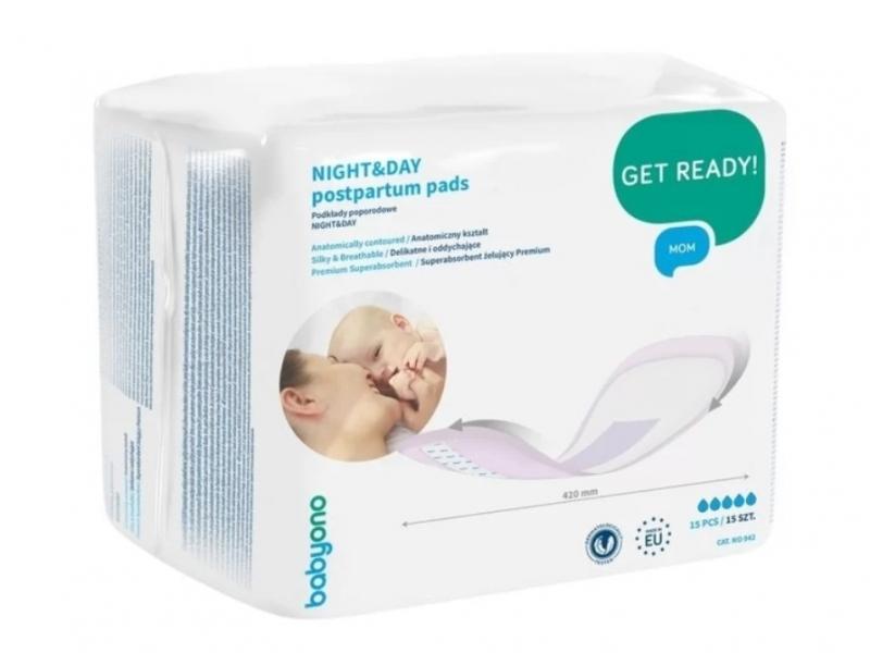 BabyOno Anatomické poporodní vložky NIGHT&DAY - 15 ks