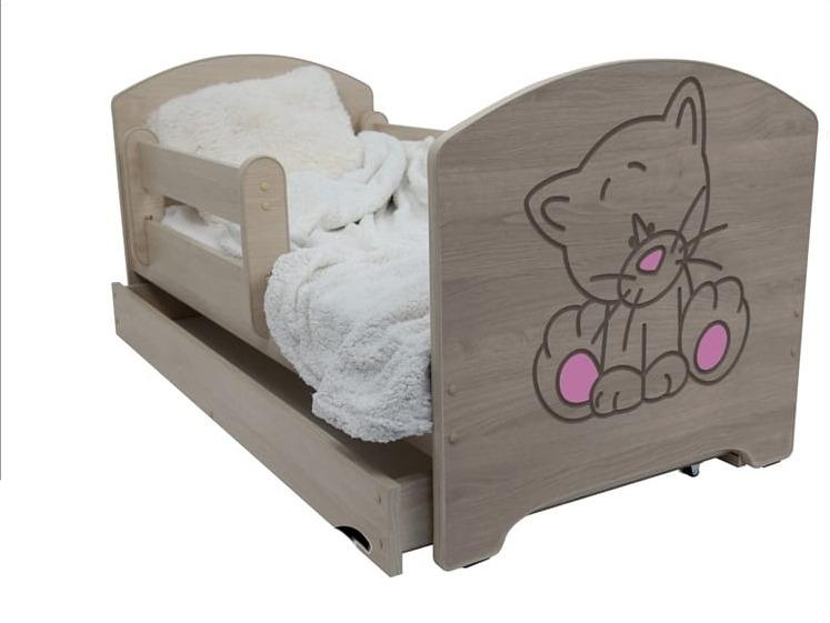 Dětská postel Kočka růžová - barva Dub Sonoma + matrace zdarma