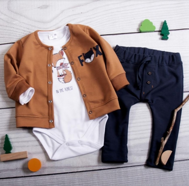 K-Baby 3 dílná sada - 1x body dlouhý, mikina a tepláčky - Lišák, granát, hnědá