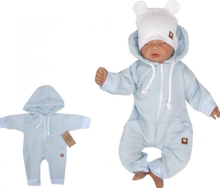 Z&Z Dětský teplákový overálek s kapucí, sv.modrý