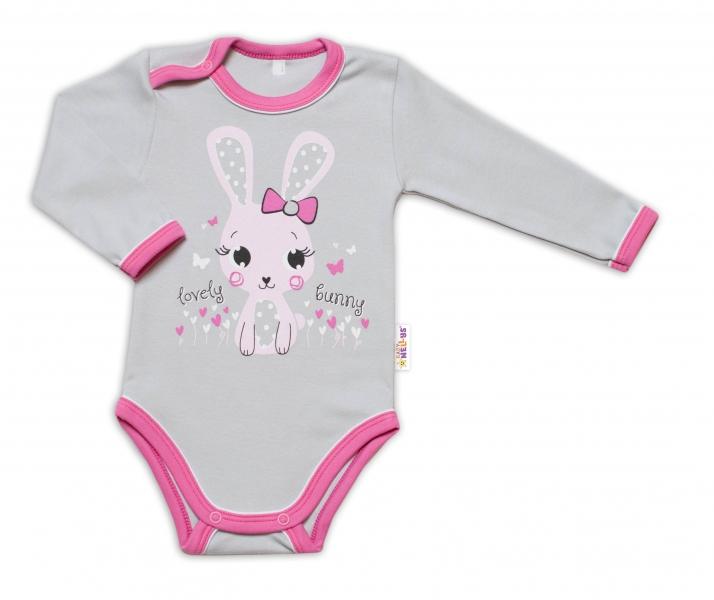 Baby Nellys Kojenecké body, dl. rukáv, Lovely Bunny - šedé/růžové, Velikost: 74 (6-9m)