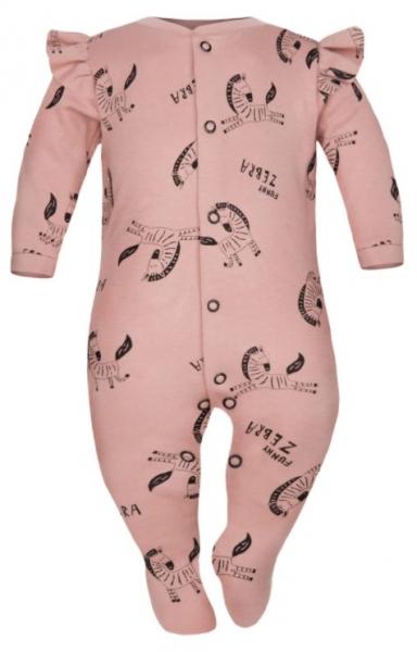 Baby Nellys Overálek Funny Zebra s volánkem, zapínání uprostřed, pudrový