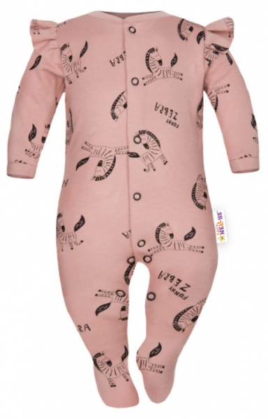 Baby Nellys Overálek Funny Zebra s volánkem, zapínání uprostřed, pudrový, Velikost: 56 (1-2m)