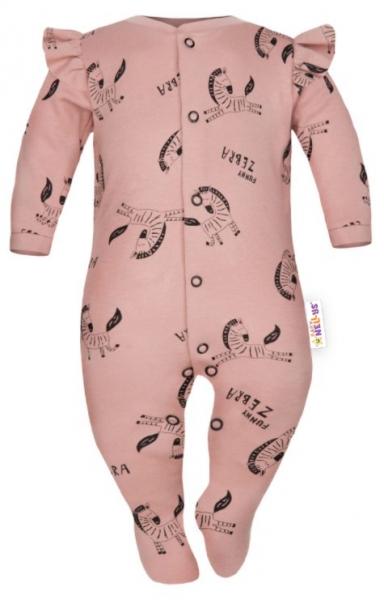 Baby Nellys Overálek Funny Zebra s volánkem, zapínání uprostřed, pudrový, vel. 68, Velikost: 68-80 (6-12m)