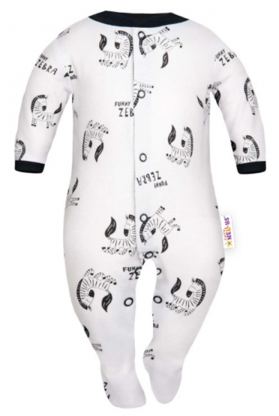 Baby Nellys Overálek Funny Zebra , zapínání uprostřed, bílá, Velikost: 56 (1-2m)