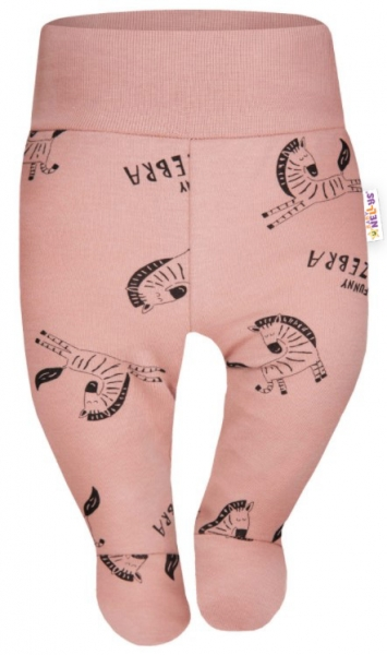 Baby Nellys Bavlněné polodupačky Funny Zebra - pudrové, vel. 68