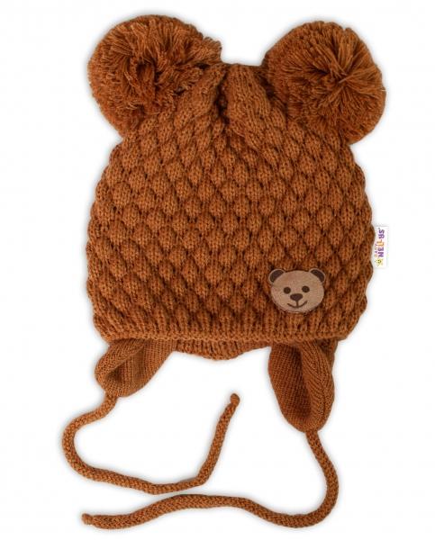 BABY NELLYS Zimní pletená čepice Teddy Bear na zavazování, hnědá