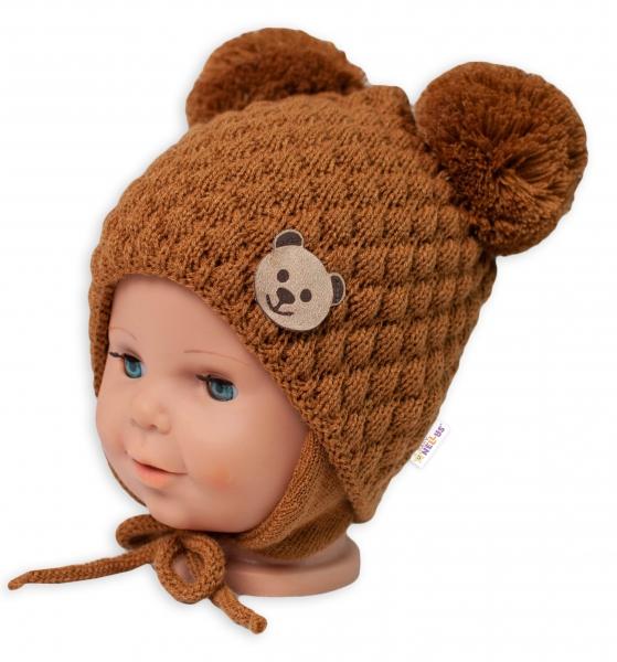 BABY NELLYS Zimní pletená čepice Teddy Bear na zavazování, hnědá, 68/80, (6-12m)