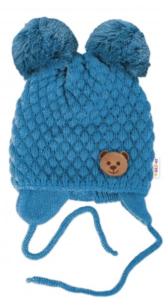 BABY NELLYS Zimní pletená čepice Teddy Bear na zavazování, modrá