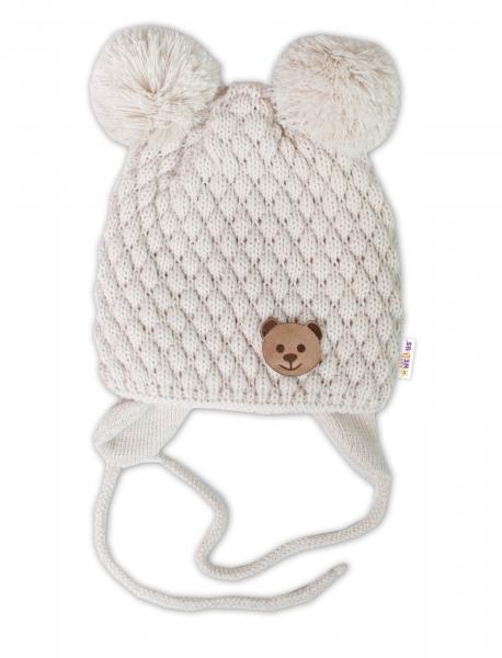BABY NELLYS Zimní pletená čepice Teddy Bear na zavazování, ecru, 68/80, (6-12m)