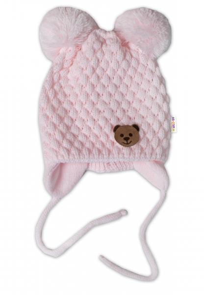 BABY NELLYS Zimní pletená čepice Teddy Bear na zavazování, růžová, 68/80, (6-12m)