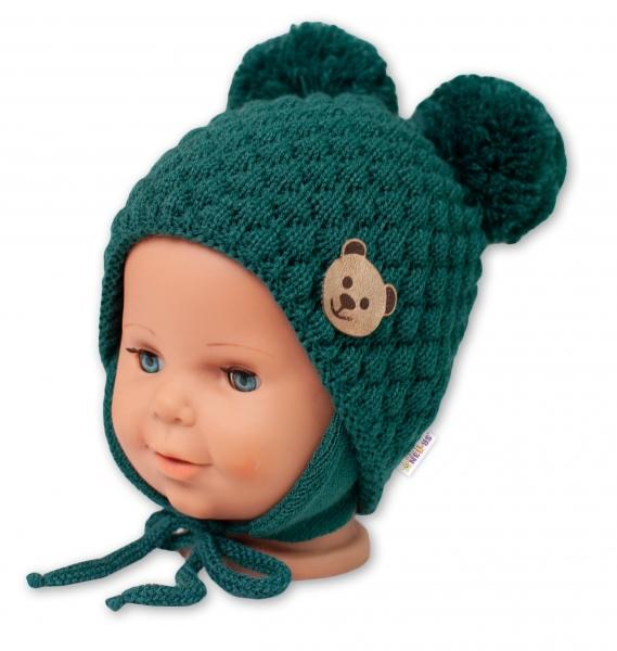 BABY NELLYS Zimní pletená čepice Teddy Bear na zavazování, zelená