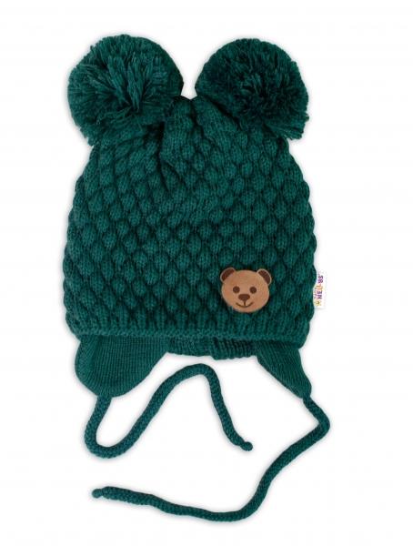 BABY NELLYS Zimní pletená čepice Teddy Bear na zavazování, zelená, 68/80, (6-12m)