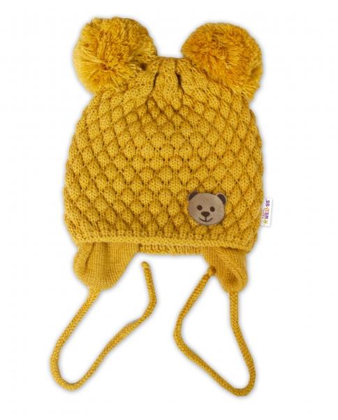 BABY NELLYS Zimní pletená čepice Teddy Bear na zavazování, hořčicová