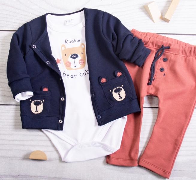 K-Baby 3dílná sada - 1x body dlouhý, mikina a tepláčky Teddy Bear, granát, cihlová, vel.74