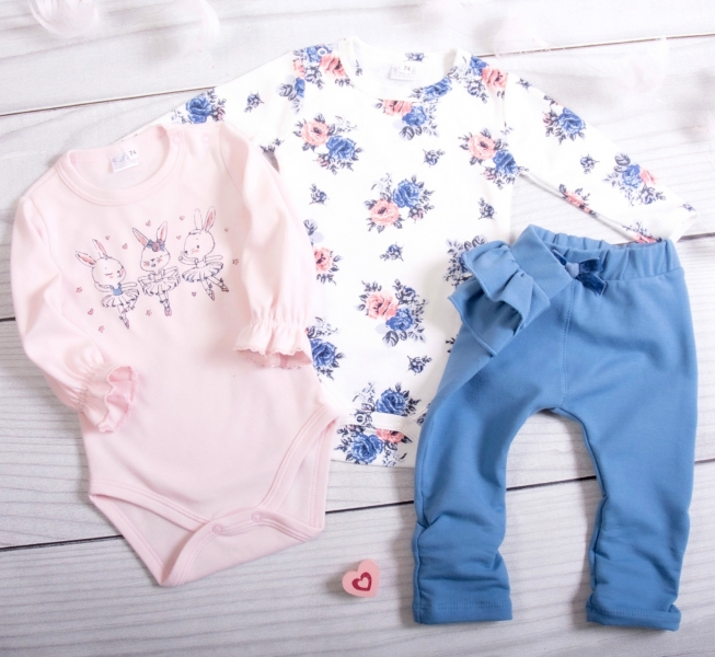 K-Baby 3-dílná sada, 2x body dl. rukáv, legíny - Bunny Ballet, pudrová, jeans, vel. 80