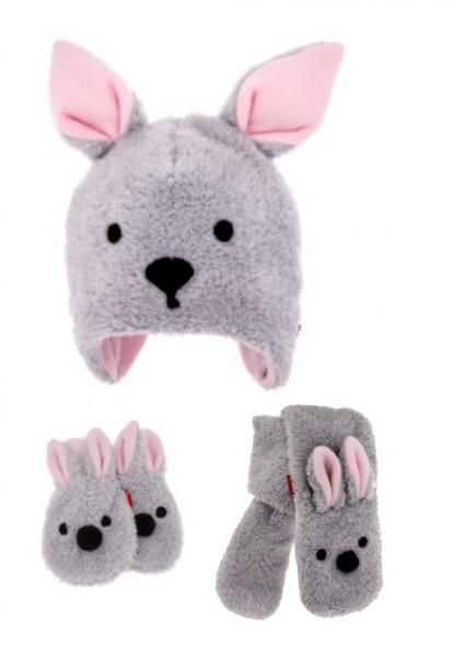 Bexa Komplet zimní čepice s oušky, šál + rukavičky, Bunny - šedá/růžová
