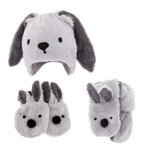 Bexa Komplet zimní čepice s oušky, šál + rukavičky, Rabbit - šedá