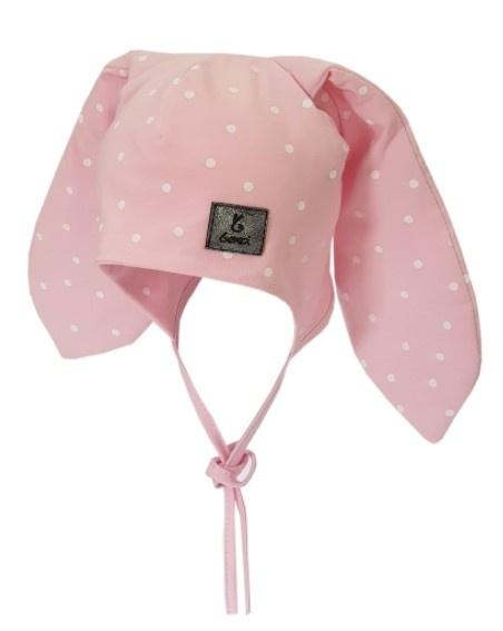 Bexa Bavlněná dvouvrstvá čepice na zavazování Dots - růžová, vel. 62/68
