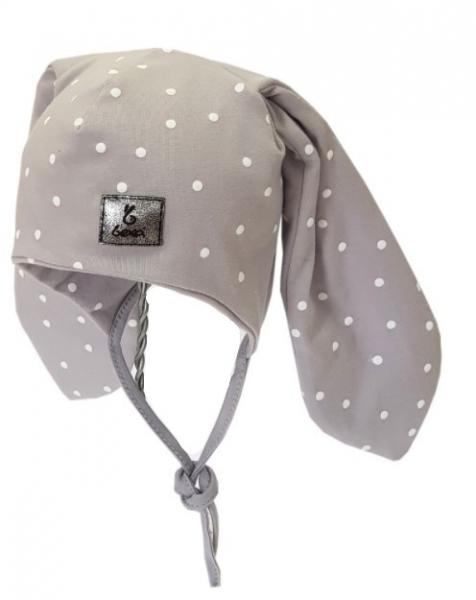 Bexa Bavlněná dvouvrstvá čepice na zavazování Dots - šedá, vel. 68/80