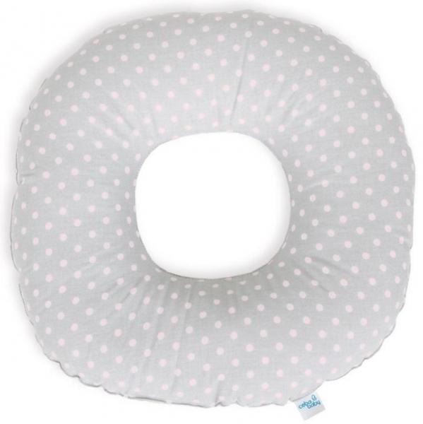 Ceba Poporodní polštář - puntíky růžové na šedém