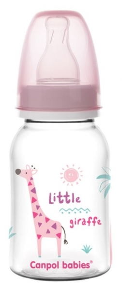 Canpol babies Lahvička s potiskem 125 ml , Žirafka - růžová