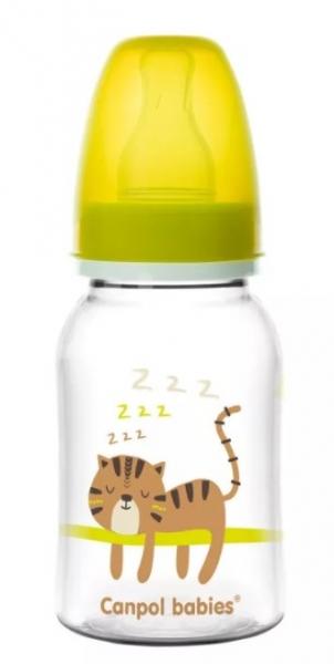 Canpol babies Lahvička s potiskem 125 ml , Tygřík - žlutá