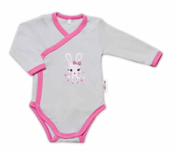 Baby Nellys Kojenecké body, dl. rukáv, zap. bokem Lovely Bunny - šedé/růžové