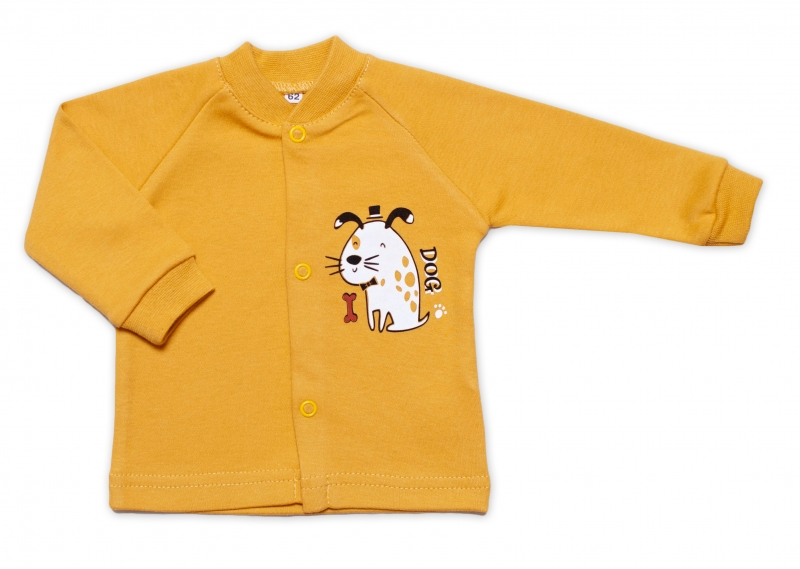 Baby Nellys Bavlněná košilka Dogs - hořčicová, Velikost: 50 (0-1m)