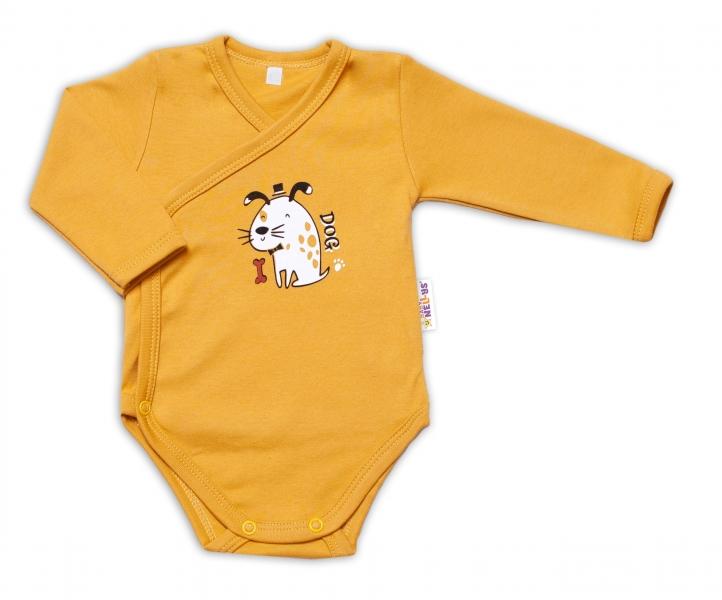 Baby Nellys Kojenecké body, dl. rukáv, zap. bokem Dogs - hořčicová, vel. 62, Velikost: 62 (2-3m)